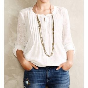 Meadow Rue White Lace Button Up Top